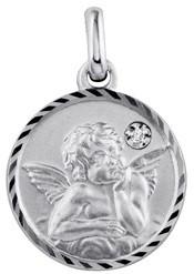 Médaille ange argent rhodié diamant 2.80 grs 52 ¤ - Voir en grand