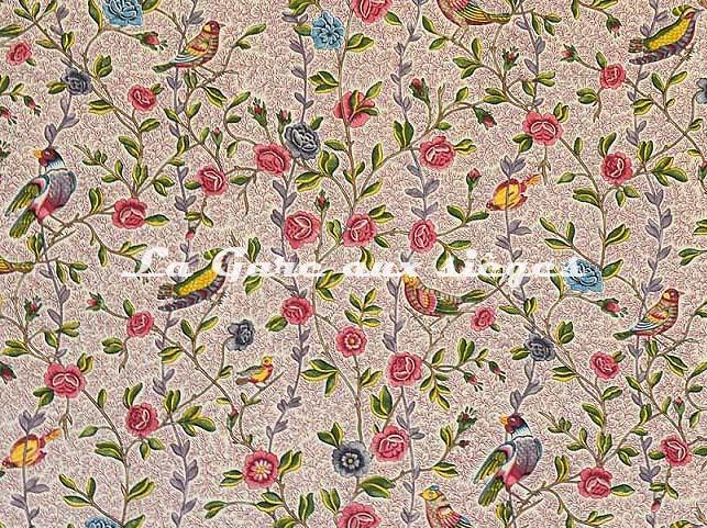 Tissu Casal - Fleurs et Oiseaux - réf: 30411.8090 Grenat/Rose ( détail ) - Voir en grand