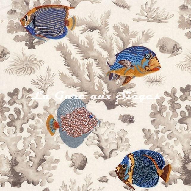 Tissu brodé Casamance - Les Empereurs - réf: 4712.0247 Beige clair - Voir en grand