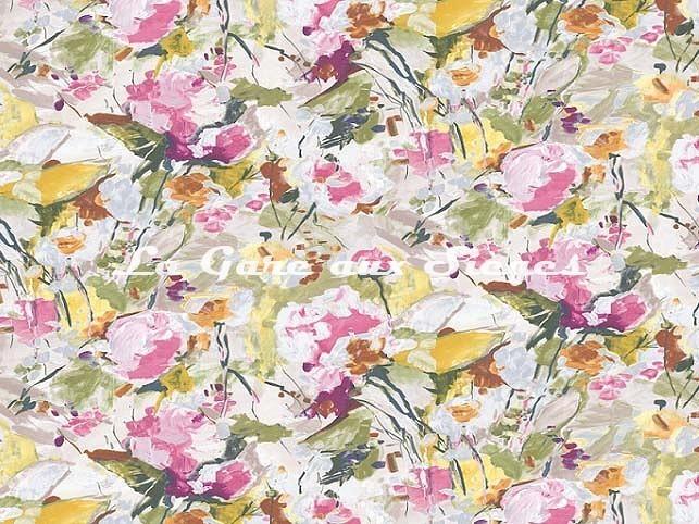 Tissu Casal - Emily - réf: 30410.3292 Mousse/Rose - Voir en grand