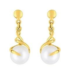 Boucles d'oreilles pendante or jaune perles de culture 103¤ - Voir en grand