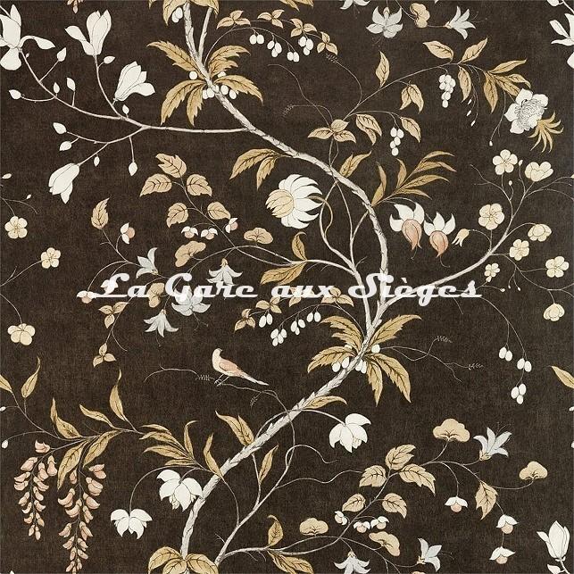 Papier peint Zoffany - Chambalon Trail - réf: 312850 Antique Gold/Vine Black - Voir en grand