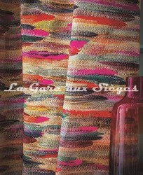 Tissu Casamance - Broderie Charivari Fuschia