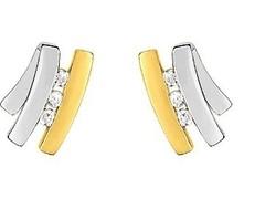 Boucles d'oreilles clous 6 diamants bicolore - Boucles Oreilles OR 18K - Bijouterie Horlogerie Lechine - Voir en grand