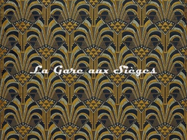 Tissu Zoffany - Conway - réf: 332960 Ink/Tigers Eye - Voir en grand