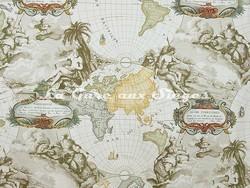 Tissu Pierre Frey - Planisphère - réf: F2264-001 Crème - Voir en grand