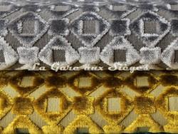 Tissu Osborne & Little - Mannar - réf: F6711 - Coloris: 03 Grey & 04 Chartreuse - Voir en grand