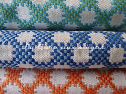 Tissu Boussac - Idaho - réf: O7790 - Coloris: 03 Turquoise - 02 Horizon - 10 Capucine - Voir en grand