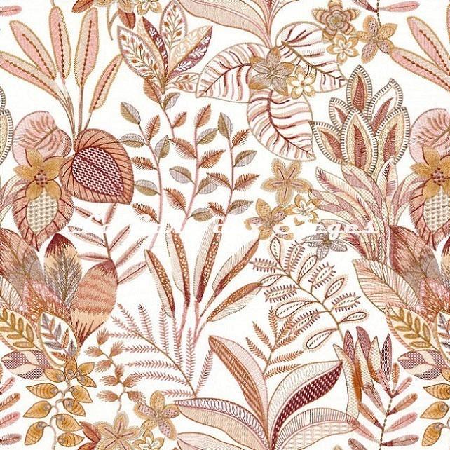 Tissu Casamance - Tereshchenko - réf: 4375.0351 Rose blush/Mordoré - Voir en grand
