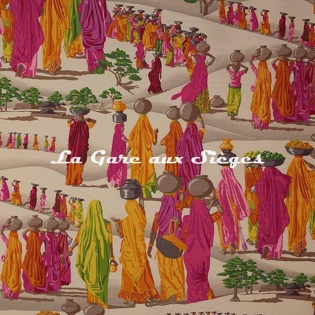 Tissu Manuel Canovas - Sari - réf: O1458.01 Fuchsia - Voir en grand