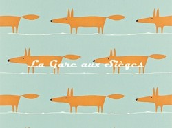 Tissu Scion - Mr Fox - réf: 120071 Sky Tangerine and Chalk - Voir en grand