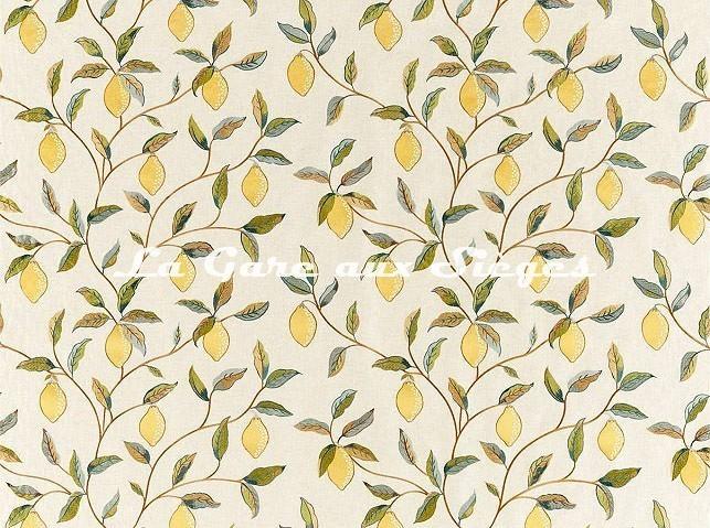 Tissu William Morris - Lemon Tree Embroidery - réf: 236823 Bayleaf/Lemon - Voir en grand