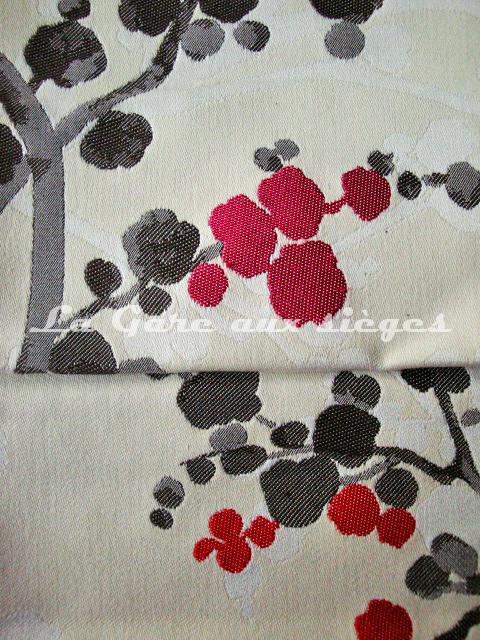 Tissu Bélinac - Nara - réf: 1355 - Coloris: 06 Fuschia fond crème & 01 Rouge fond crème - Voir en grand