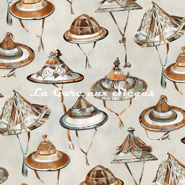 Tissu Casamance - Dogon - réf: 4316.0345 Marron glacé/Orange brulée - Voir en grand