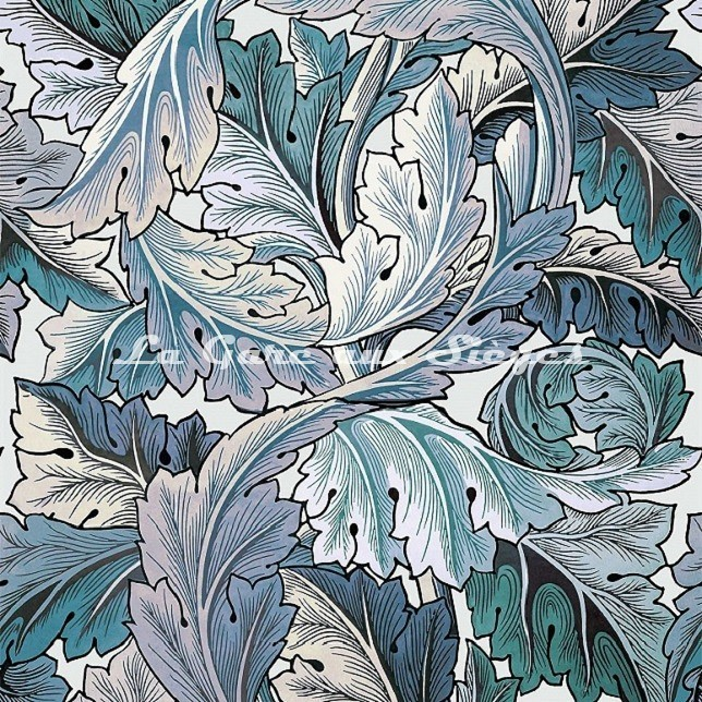 Tissu House of Hackney - Acanthus - Aegean Blue/Off-White - Voir en grand