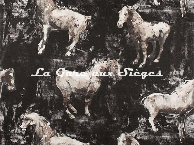 Tissu Donghia - Horses - réf: 10357.009 Black - Voir en grand