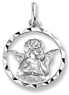 Médaille ange argent rhodié diamant 2.74 grs 42 ¤ - Voir en grand