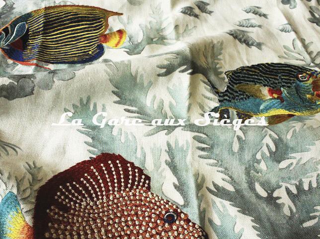 Tissu Casamance - Les Empereurs - réf: 4712.0112 Emeraude - Voir en grand
