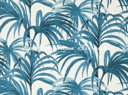Tissu House of Hackney - Palmeral Coton/Lin - Coloris: Off White/Azure - Voir en grand