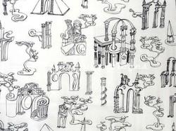 Tissu Pierre Frey - Nuit d'Architecte - réf: 5553-002 Blanc - Voir en grand