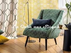 Tissu Camengo - Velours Douves - Coloris: Vert - Voir en grand