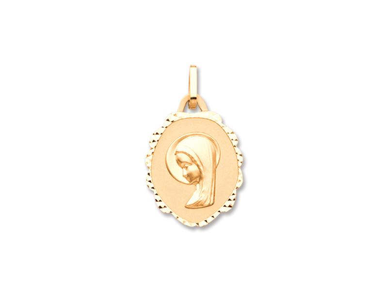 Médaille Ste Vierge fantaisie 16 x 18 mm Or jaune 18k 1.10 grs 173 ¤  - Voir en grand