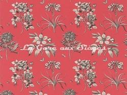 Tissu Sanderson - Etching & Roses - réf: DPFPET201 Coral/Metallic - Voir en grand