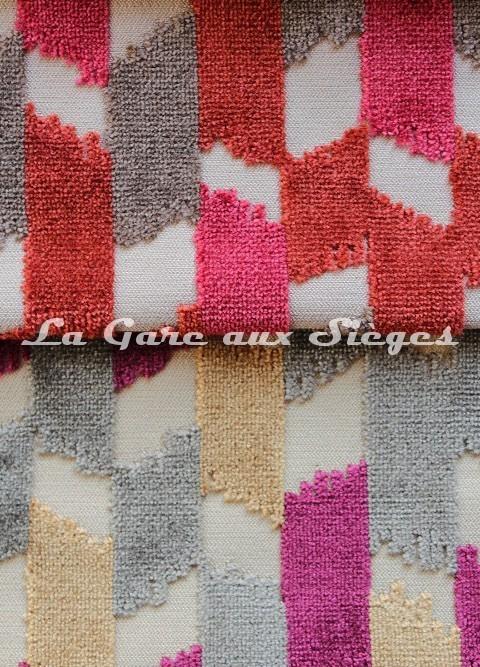 Tissu Jéro - Italique - réf: 9116 - Coloris: 03 Corail & 04 Parchemin - Voir en grand