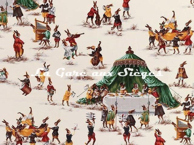Tissu Pierre Frey - Le Banquet - réf: F2421.001 Vert - Voir en grand