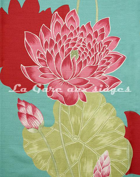 Tissu Bélinac - Lotus - réf: 1023 - Coloris: 01 Bleu - Voir en grand