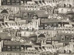 Tissu Pierre Frey - Toits de Paris - réf: F2811-001 Noir et Blanc - Voir en grand