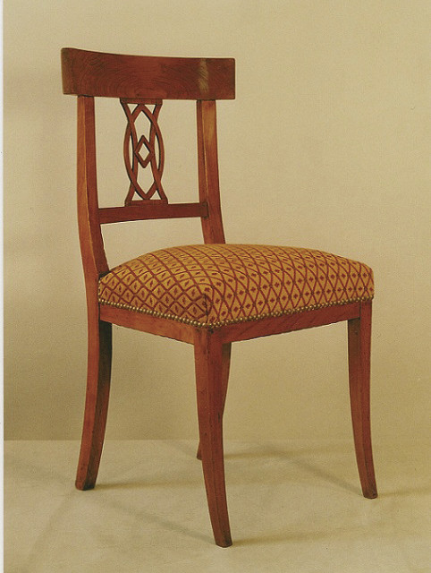 Chaise Directoire en merisier - Tissu Jab - Voir en grand