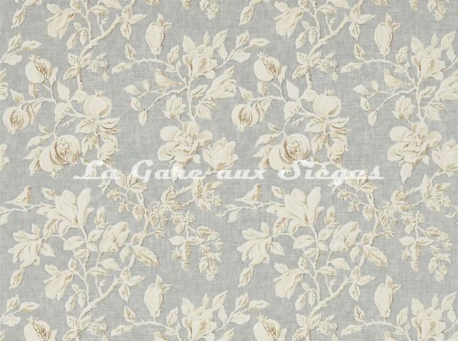 Tissu Sanderson - Magnolia & Pomegranate - réf: 225505 Gray Blue/Parchment - Voir en grand