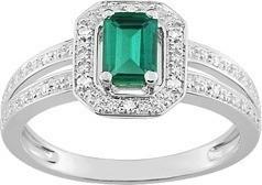 Bague émeraude et diamants or blanc 18 carats - Bague  Or - Bijouterie Horlogerie Lechine - Voir en grand