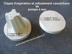 Clapet aspiration refoulement de pompe - Pompe à eau manuelle et Cuir de pompe - MARTIN Motoculture - Voir en grand