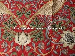 Tissu William Morris - Strawberry Thief - réf: 220312 Crimson/Slate ( détail ) - Voir en grand