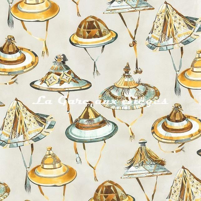 Tissu Casamance - Dogon - réf: 4316.0230 Vert émeraude/Jaune - Voir en grand