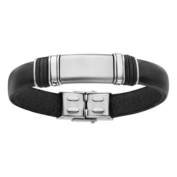 Bracelet acier et cuir noir réf 127862 56 ¤ - Voir en grand