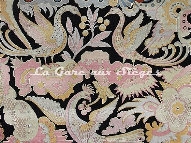Tissu Tassinari & Châtel - Les Chimères - réf: 1570.01 Fond noir - Voir en grand
