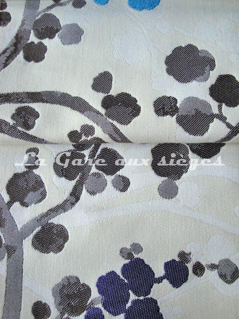 Tissu Bélinac - Nara - réf: 1355 - Coloris: 05 Turquoise fond crème & 04 Violet fond crème - Voir en grand
