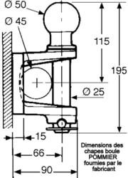 Dimensions des crochets d'attelage Pommier 295071 www.martin-motoculture.fr - Voir en grand