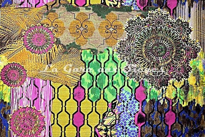 Tissu Casal - Woodstock - réf: 35001-40 Multi jaune - Voir en grand