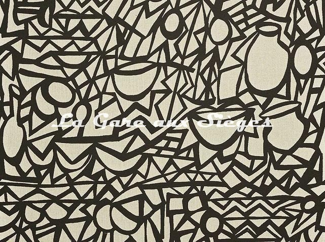 Tissu Pierre Frey - Moucharabieh - réf: F3377.001 Noir/Lin - Voir en grand