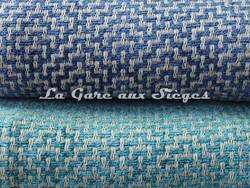 Tissu Osborne & Little - Ardee - réf: F6690 - Coloris: 04 Navy/Stone & 05 Peacock/Linen - Voir en grand