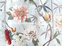 Tissu Lelièvre - Printemps de Chine - réf: 583.02 Aqua - Voir en grand