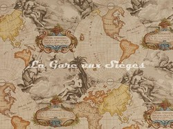 Tissu Pierre Frey - Planisphère - réf: F2264-002 Miel - Voir en grand