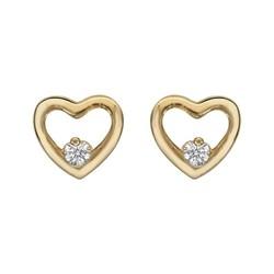 boucles d'oreilles plaqué or coeur avec oxyde blanc 23 ¤ - Voir en grand