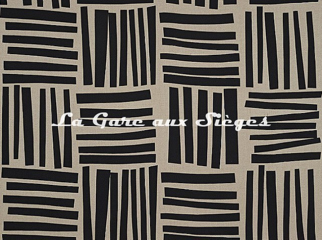 Tissu Pierre Frey - Liz - réf: F3484.001 Noir & Lin - Voir en grand
