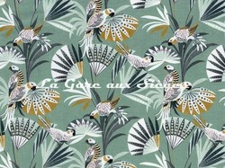 Tissu Camengo - Quetzal velvet - réf: 4208.0135 Bleu - Voir en grand