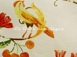 Tissu Bélinac - Pomone - réf: 1023/3922-03 Ivoire/Rouge/Jaune/Orange - Voir en grand